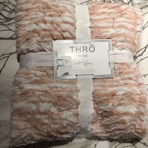 Other - Pink and white fuzzy throw blanket